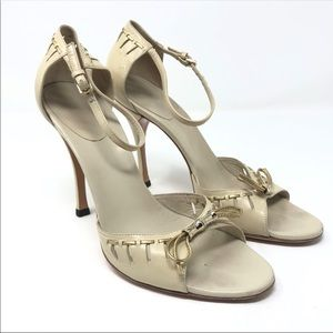 Gucci Size 7 Tan Gold Ankle Strap Heels